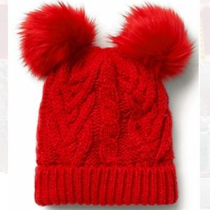 New baby girl Pom red hat faux fur sz small / med